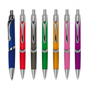 Ball pen with metal clip