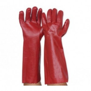 Red PVC glove medium duty long. R42,00.  126,00 MT.   13,00 USD