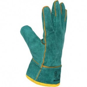 green lined welding gloves. R80,00.  240,00 MT,  24,00 USD