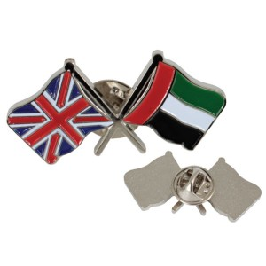 metal double flag with magnetic pin