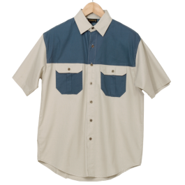 LO--Bush. Mens two tone bush shirt. Stone and airforce